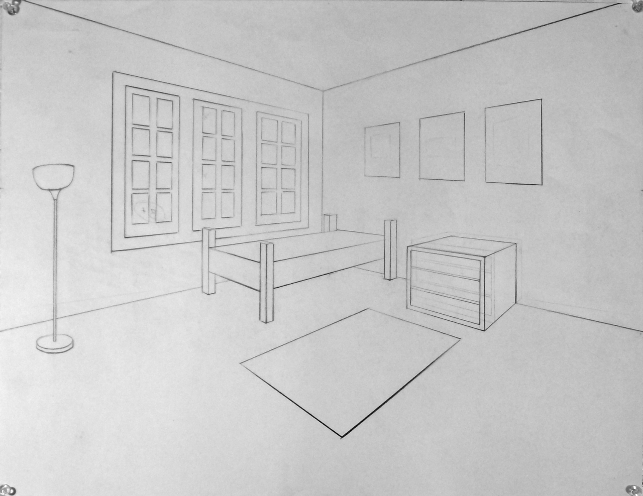Two point perspective living room