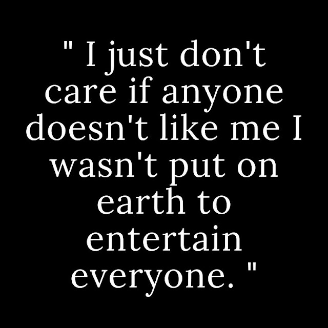 I just don't care if anyone doesn't like me I wasn't put on earth to entertain everyone.