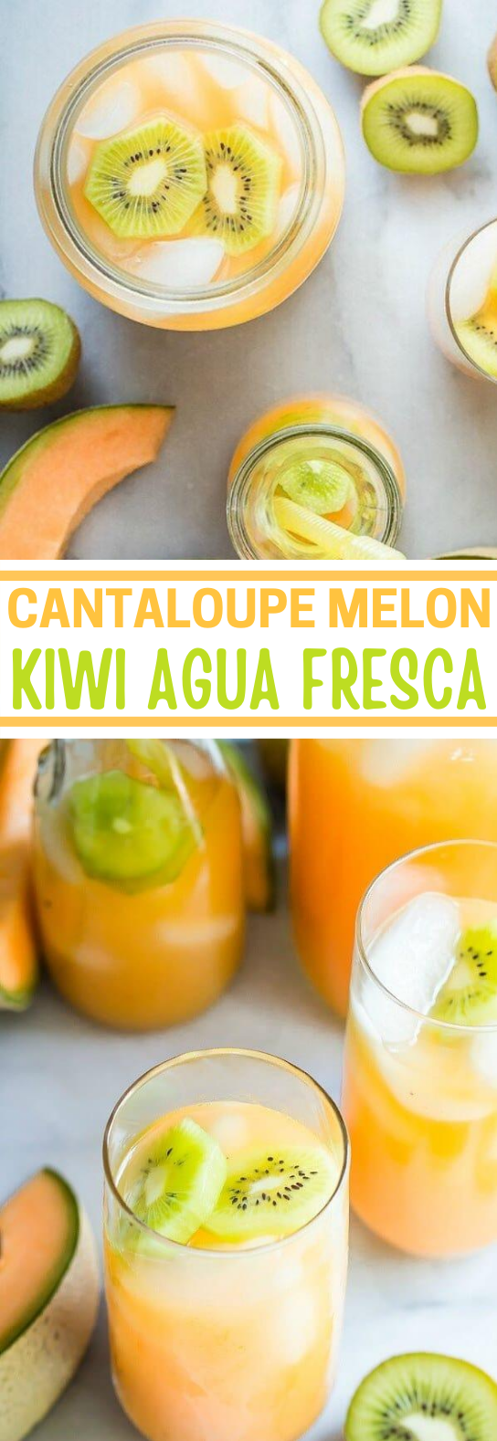 Cantaloupe Melon and Kiwi Agua Fresca #summer #drink #cocktail #beverages #brunch