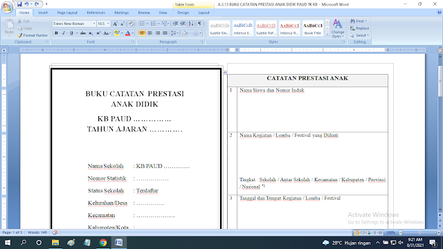 Download Contoh Buku Catatan Prestasi Anak Didik Paud TK KB RA