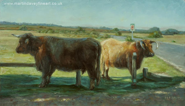 two bull in New Forest scene artwork M P Davey