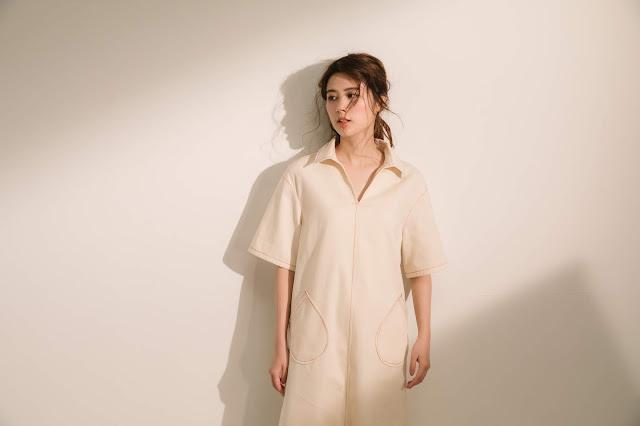 小眾生活壓線大口袋洋裝-牧羊人模特兒實穿