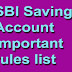 SBI Savings Account Important rules list : Avoid penalty