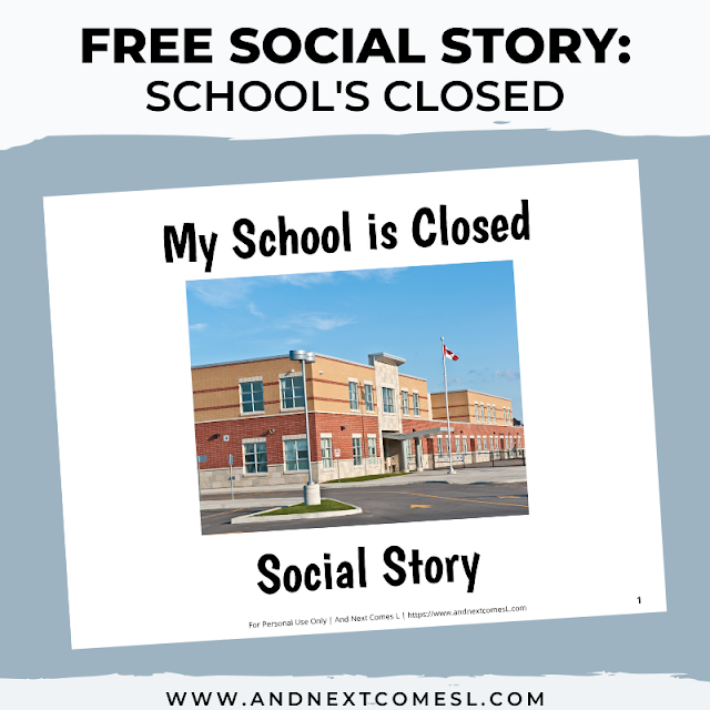 Free printable social story about schools are closed