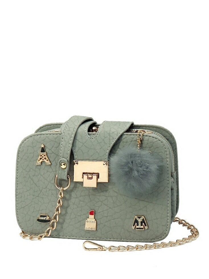 Pom Pom Decor Chain Bag