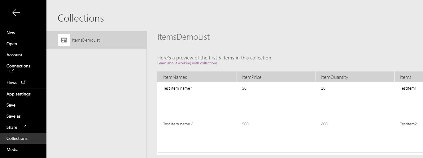 Collections in PowerApps - Finance and Operations Community