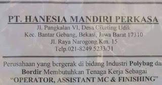 Lowongan Kerja Terbaru Operator di Bekasi PT Hanesia Mandiri Perkasa