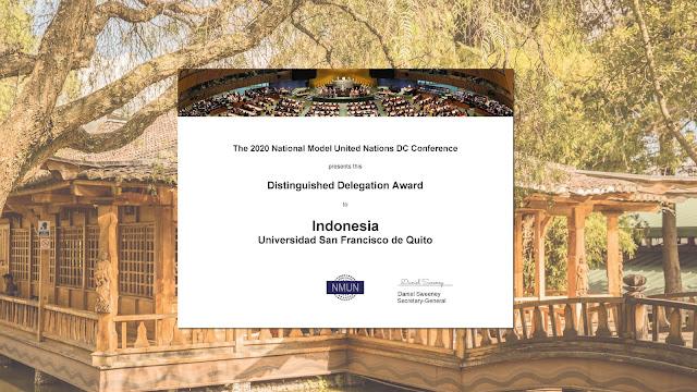 Delegación de la USFQ fue premiada como Distinguished Delegation en el NMUN Washington D.C.