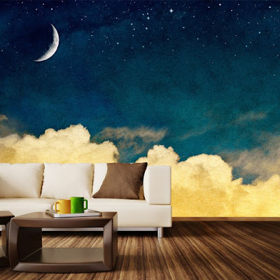 Glow in the dark murals, wallpaper and stickers for living room walls