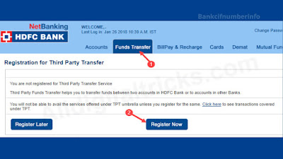 Transfer Fund from HDFC Bank using Intenet Banking