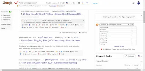 Guest blogging list from Google search