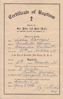 Baptismal Certificate for Sophia Karvojus (Sophie Karvoius) who was baptized in 1906. Issued by Sts. Peter & Paul Church, Elizabeth, NJ in 1942. Some information conflicts with earlier certificate. A lesson in using derivitive documents.