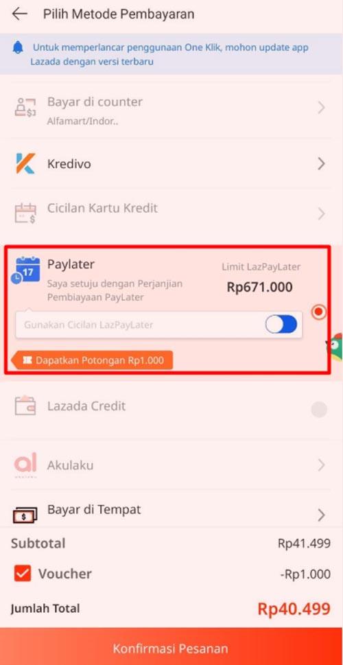 lazada paylater rekening