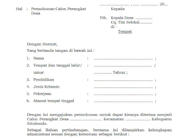 Format Surat Lamaran Calon Perangkat Desa