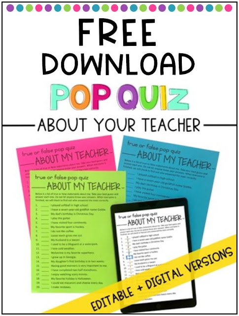 Pop quiz to get acquainted with a new teacher sample pages.