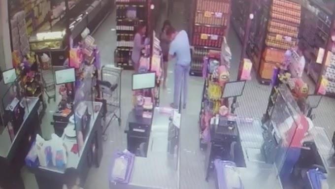 Policial militar de folga faz manobra e salva bebê engasgado com bala em supermercado; veja o vídeo