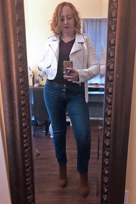 white leather jacket with jeans