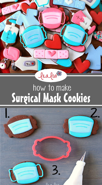 brightly colored surgical face mask sugar cookies for nurses or doctors