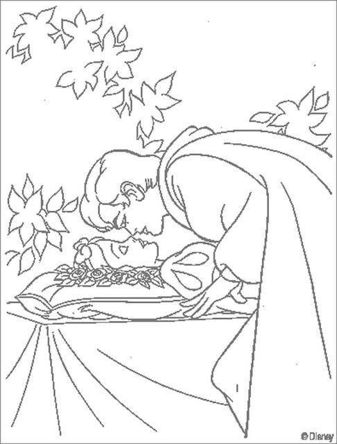 colorear blanca Nieves el beso del principe