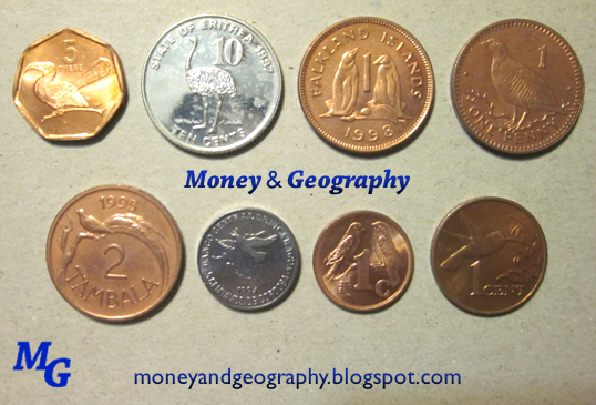 Money And Geography Coins With Birds