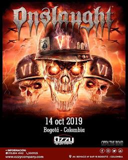 Concierto ONSLAUGHT en Bogotá 2019