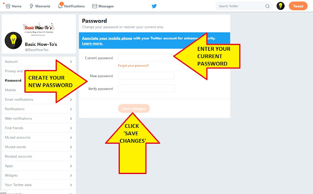 HOW TO CHANGE YOUR TWITTER PASSWORD STEP 3 FINAL STEP