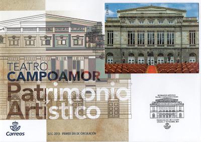 Sobre PDC con la Hoja bloque del Teatro Campoamor