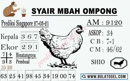 Syair Mbah Ompong SGP Sabtu 27 Maret 2021