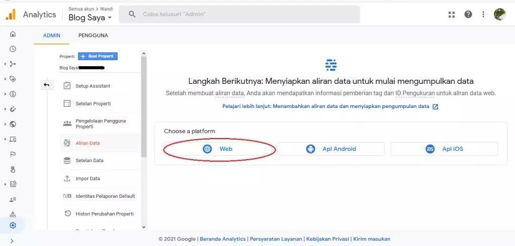 Menyiapkan aliran data google analytics 4