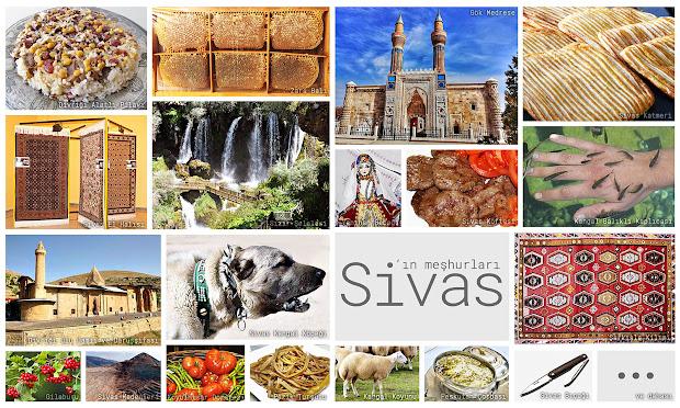 Sivas'ın meşhur şeylerini gösteren resimlerden oluşan kolaj