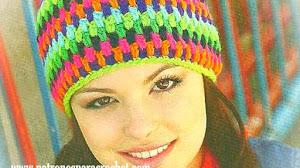 Gorro multicolor para tejer al crochet / Paso a paso