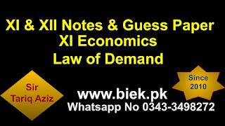 XI Economics Law of Demand