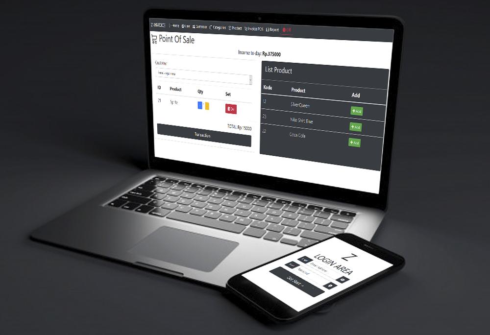Aplikasi toko dan invoice kasir Z-Invoice web apps