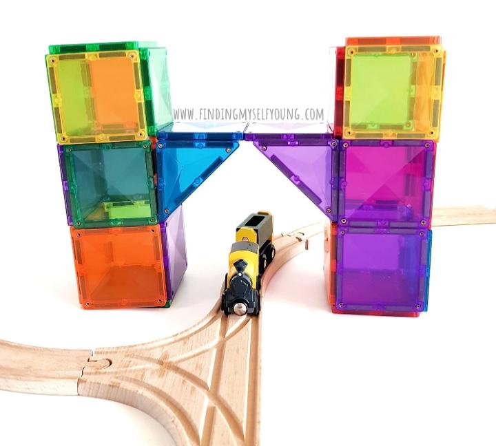 magnetic tile bridge over train tracks