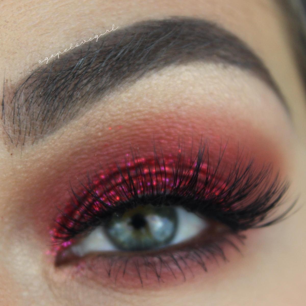 Agape Love Designs Red Glitter Smokey Eye Tutorial Valentines Day