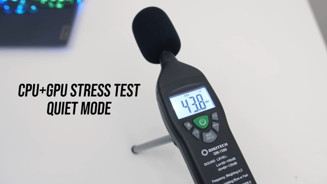 The fans are just audible in the quiet mode CPU+GPU stress tests but haven't distracted me during the use in the conference room. The sound level was measured using DIGITECH meter and found 43.8 dB on average.
