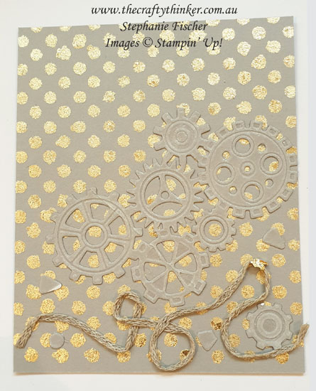 #thecraftythinker #stampinup #gildedleafing #gildedleafingadvancedtutorial #cardmaking #garagegears , Gilded Leafing, Masks & Gilded Leafing, Adhesives and techniques Gilded Leafing, Stampin' Up Demonstrator, Stephanie Fischer, Sydney NSW