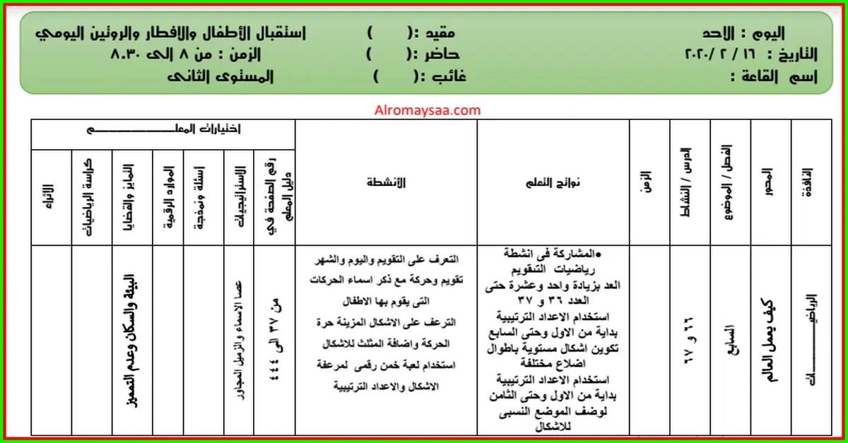 تحضير المستوى الثاني لرياض الاطفال من الاحد 16 فبراير الى الخميس 20 فبراير