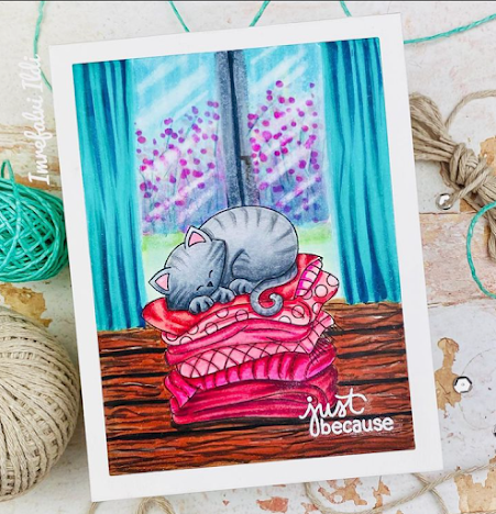 Just because by Ildi features Newton's Naptime by Newton's Nook Designs; #newtonsnook, #cardmaking, #inkypaws