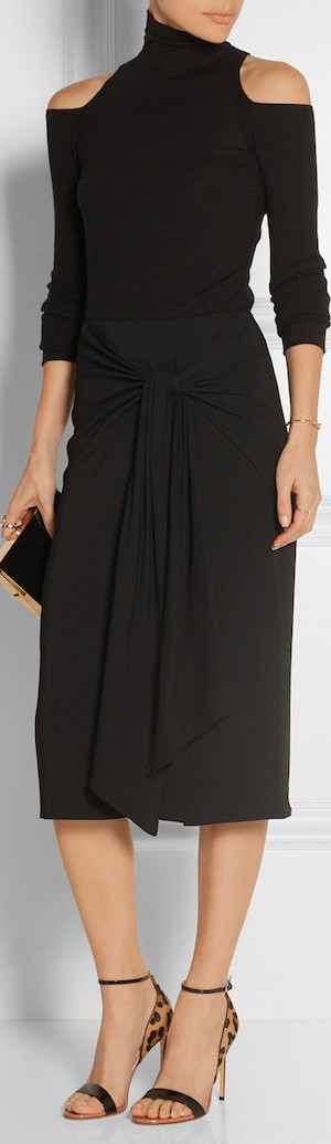 JASON WU Gathered Crepe Skirt shown in Black