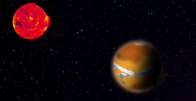 Artist's impression of TRAPPIST 1d (right) and its host star TRAPPIST 1 (left). The new research shows how planets like this could hide traces of life from astronomers' observations. Credit: MPIA Graphics Department.