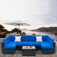 7PCS Outdoor Patio Furniture Couch Wicker Rattan /w Cushions Sofa Sectional Set