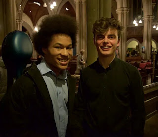 Sheku Kanneh-Mason and Tom Fetherstonhaugh after Sheku's debut with Fantasia Orchestra, playing Haydn's C major Cello Concerto (2016)