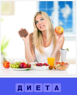 за столом девушка думает что съесть и соблюсти диету