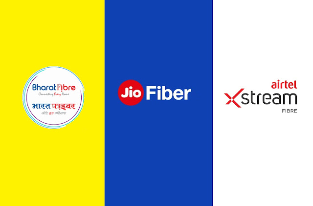 Which one is the best - Bharat Fiber or Jio Fiber or Airtel Xstream Fiber? Comparison of best unlimited FTTH Broadband Plans
