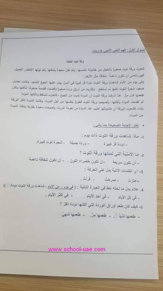 الامتحان الوزارى التكوينى الأول عربى الصف  الثانى الفصل الثانى2020 الامارات