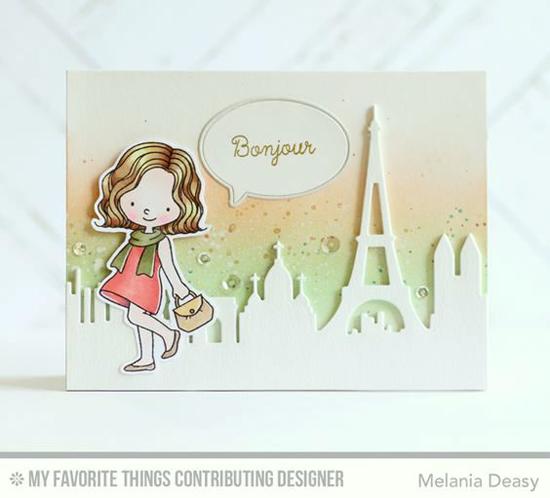 Handmade card from Melania Deasy featuring  Birdie Brown Mon Cheri stamp set, and Paris Skyline Die-namics #mftstamps