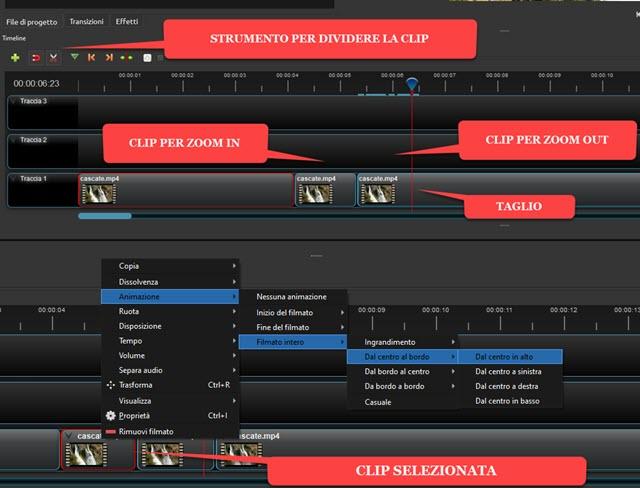 zoom automatico applicato a una clip con openshot