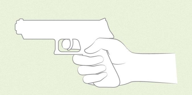 Anime tangan memegang sketsa pistol