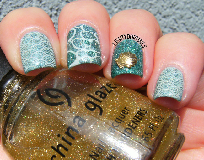 Aqua skittlette manicure